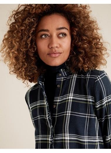 Marks & Spencer Dik Yakalı Ekose Tunik Lacivert